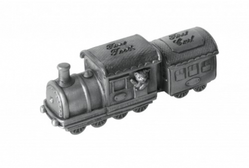 Pewter Train First Tooth & First Curl Box Christening Gift